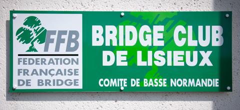 plaque Bridge Club Lisieux jeu cartes calvados normandie